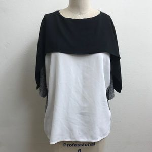 ZARA Black, White, Gray Monochromatic Top